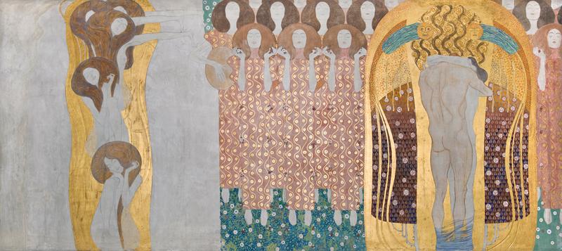 Gustav Klimt, Beethovenfries Die Sehnsucht nach dem Glück, Źródło: Österreichische Galerie Belvedere