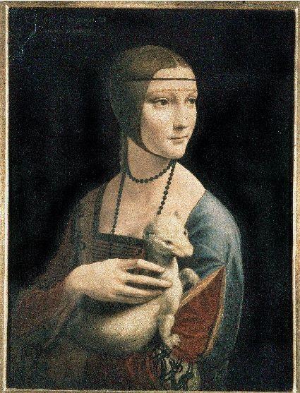"""Leonardo da Vinci """"Dama z gronostajem"""", ok. 1490; Własność Fundacji Książąt Czartoryskich, depozyt w Muzeum Narodowym w Krakowie"""