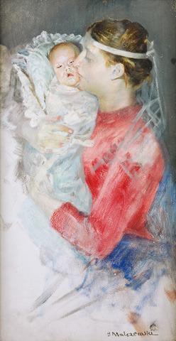 Jacek MALCZEWSKI Portret Marii Malczewskiej z córką Julią, Źródło: Rempex