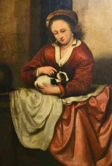Abraham van Dyck, Młoda dziewczyna przy balustradzie, Źródło: Sopocki Dom Aukcyjny