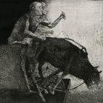 """Stoimen Stoilov, """"Człowiek i zwierzę II"""", akwaforta, Źródło: Muzeum Śląskie w Katowicach"""