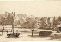 Rembrandt Harmensz. van Rijn (Lejda 1606- 1669 Amsterdam) Widok St. Anthoniessluis w Amsterdamie, ok. 1640 Pióro, bistr, lawowanie bistrem i miejscami szarym tuszem, 128 x 227 mm., źrodło: muzeum.narodowe.gda.pl