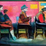 """Andrzej Wróblewski, """"Kolejka trwa"""", 1956, olej na płótnie, 140 x 200 cm, źródło: artyzm.com"""