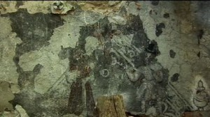 Odnalezione freski w dworze w Starej Łomnicy, źródło: tvp.pl