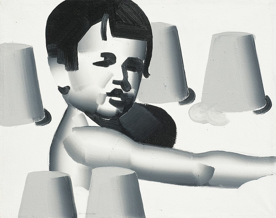 Rafał Bujnowski, BABKI, 2002  akryl, płótno 35 x 45, źródło: agraart.pl