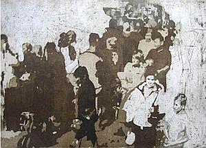 """Barbara Kasperczyk, z cyklu """"Tłum"""", akwatinta + akwaforta, 50x70 cm, źródło:galeriamm.eu"""