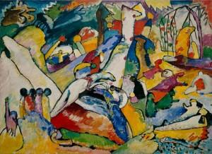 Wassily Kandinsky, Szkic do Composition II, 1909–10, olej na płótnie, źródło:guggenheim.org