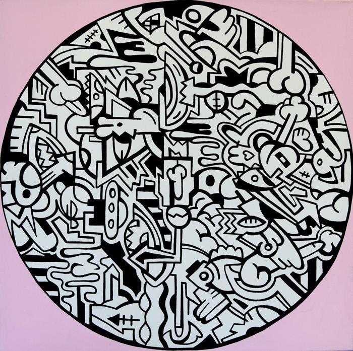 """""""Pizza"""" 2009 akryl-płótno, wymiar: 100x100, źródło: abbyhouse.pl"""