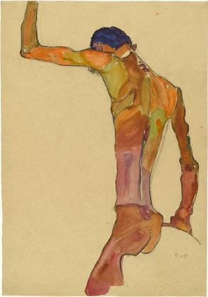 Stojący nagi mężczyzna z podniesioną ręką, 1910, źródło: MoMA