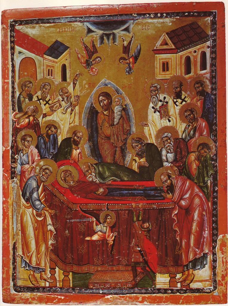 Scena Zaśnięcia Maryi, fresk z klasztoru Synaj, źródło: tumbrl.com