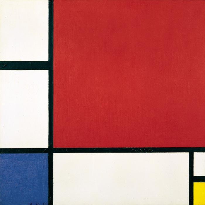 Piet Mondrian, Kompozycja w czerwieni, błękicie i żółcieni, 1930. olej na płótnie, źródło; Gemeentemuseum
