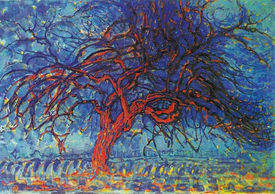 Piet Mondrian, Czerwone drzewo, olej na płótnie, źródło: Gemeentemuseum,