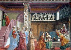 Narodziny Marii, 1485-90, fresk, Cappella Tornabuoni, źródło: historiasztuki.com.p
