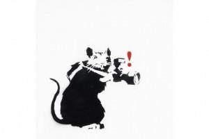 Banksy, Paparazzi Rat. Estymacja: $100,000-150,000. Źródło: Bonhams.