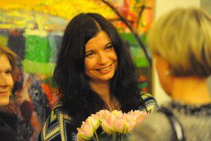 Kasia Banaś na wernisażu w Duńskim Instytucie Kultury, fot. dik.org.pl