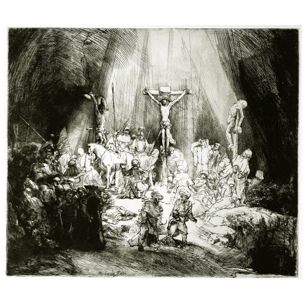 Rembrandt van Rijn, Christ crucified between the two thieves: The Three Crosses, 1660, źródło: britishmuseum.org