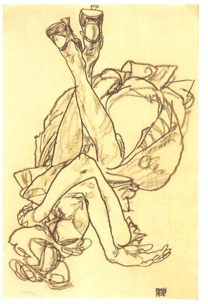 Egon Schiele, Am Rücken liegendes Mädchen mit überkreuzten Armen und Beinen, źródło: Sotheby's