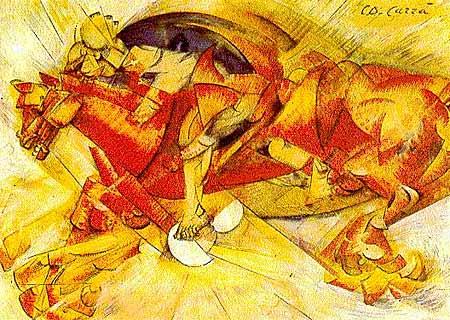 CARLO CARRA, CZERWONY JEŹDZIEC, 1913, źródło:artnet.com