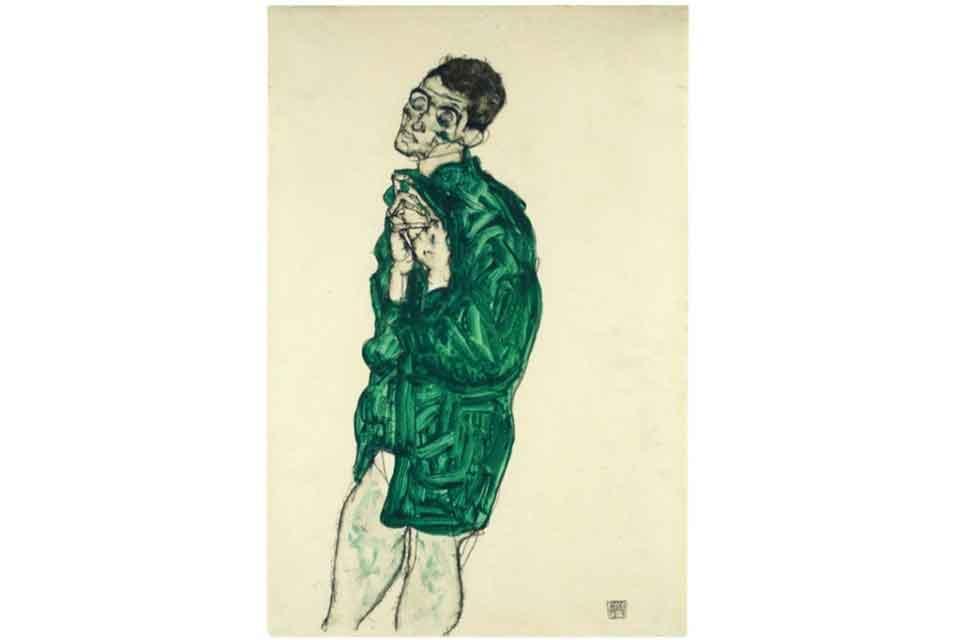 Egon Schiele, Selbstdarstellung in grünem Hemd mit geschlossenen Augen, źródło: Leopold Museum