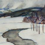 """Julian Fałat, """"Pejzaż zimowy z Bystrej"""", Źródło: Muzeum w Bielsku Białej"""