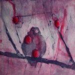 """Inga Potoczna, """"Wróbel w głogu"""", akwaforta, 22x22 cm, Onamato/artpower.pl"""