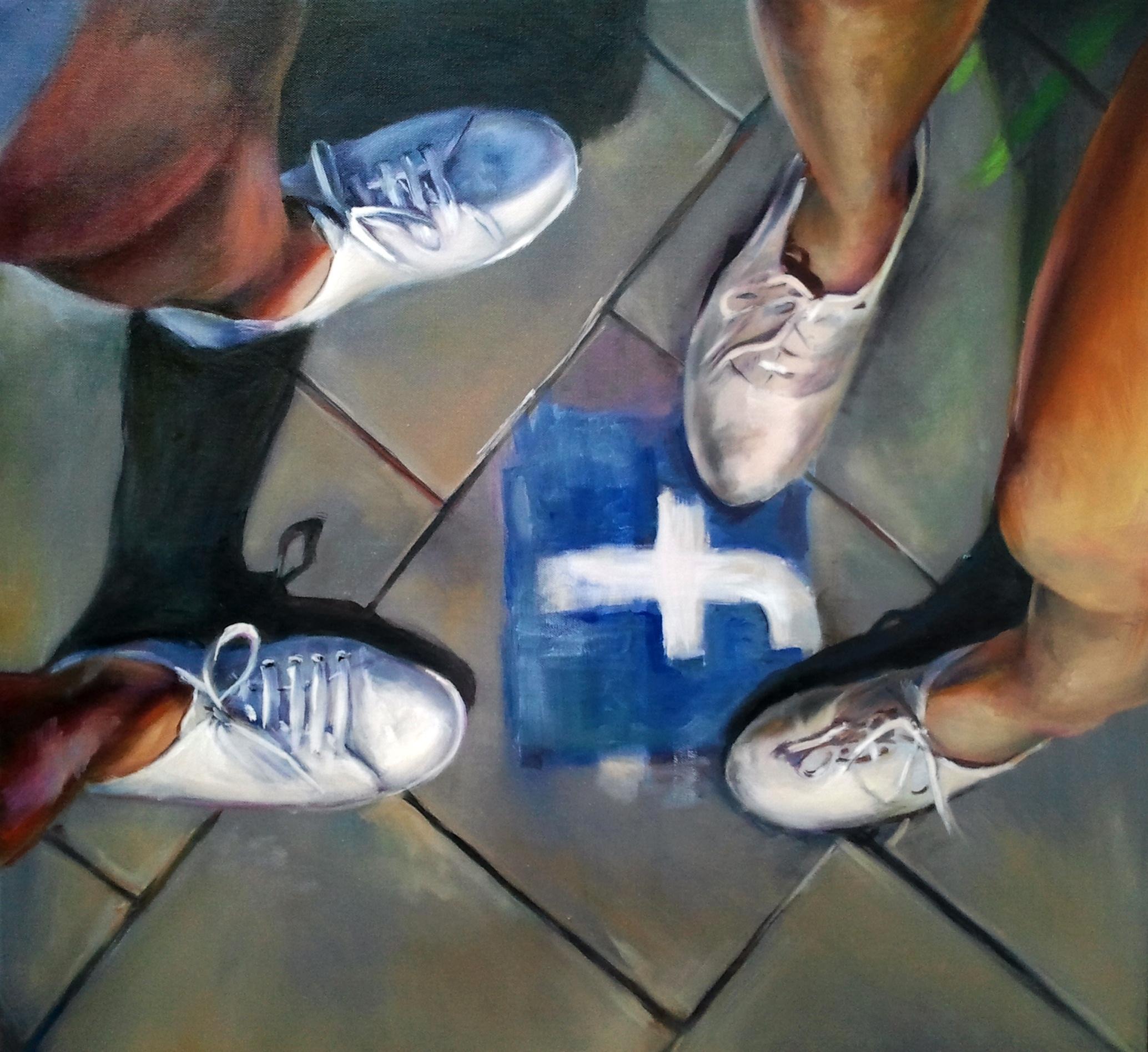 """Júlia Végh, """"Kontakt"""" ('Contact')80 x 80 cm; olej na płótnie; 2011źródło:www.studentartworks.com"""