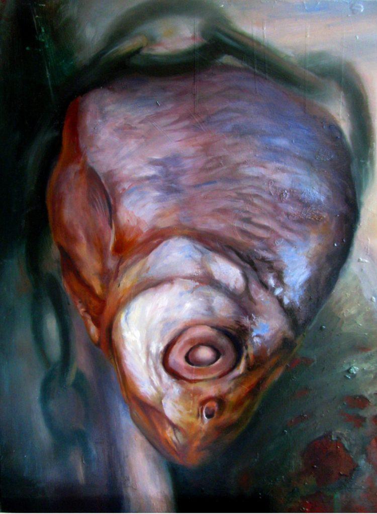 """Júlia Végh, """"Przykuty"""" ('Chained')100 x 76 cm; olej na drewnie; 2011"""