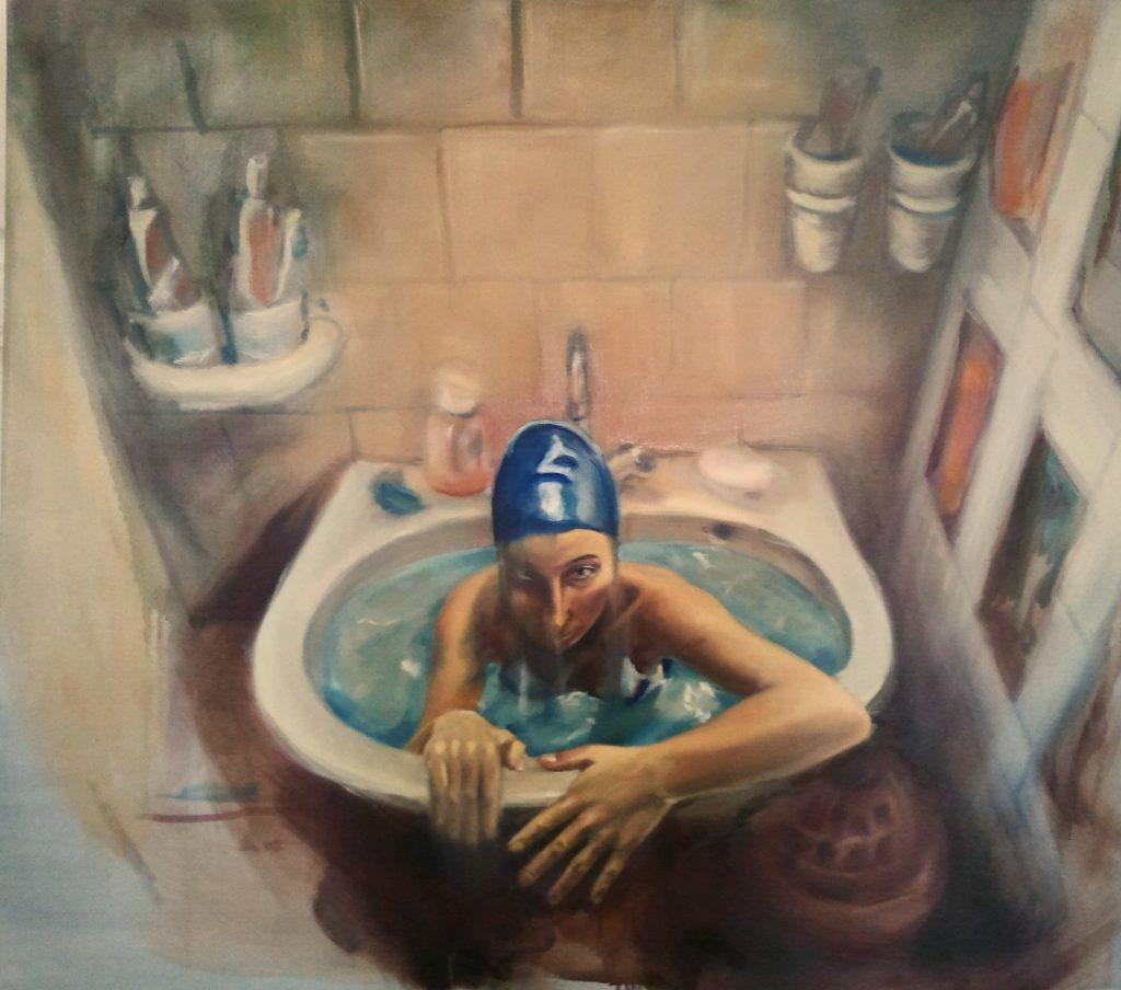 "Júlia Végh, ""Uczucie""('Feeling')150 x 130 cm; olej na plótnie; 2012.źródło:www.studentartworks.com"