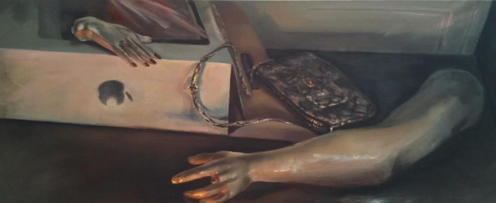 """Júlia Végh, """"Adam i Ewa"""" ('Adam & Eva')160 x 65 cm; olej na płótnie; 2012źródło: www.studentartworks.com"""