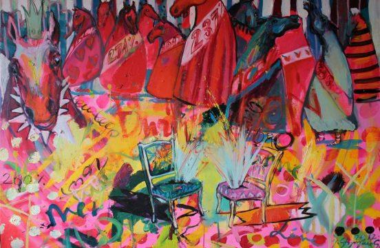 """Joanna Styrylska, """"Rozmowa kontrolowana"""", 100×70 cm, olej, artpower.pl;"""