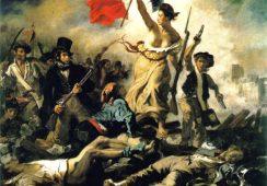 Wolność wiodąca lud na barykady E. Delacroix popisana markerem