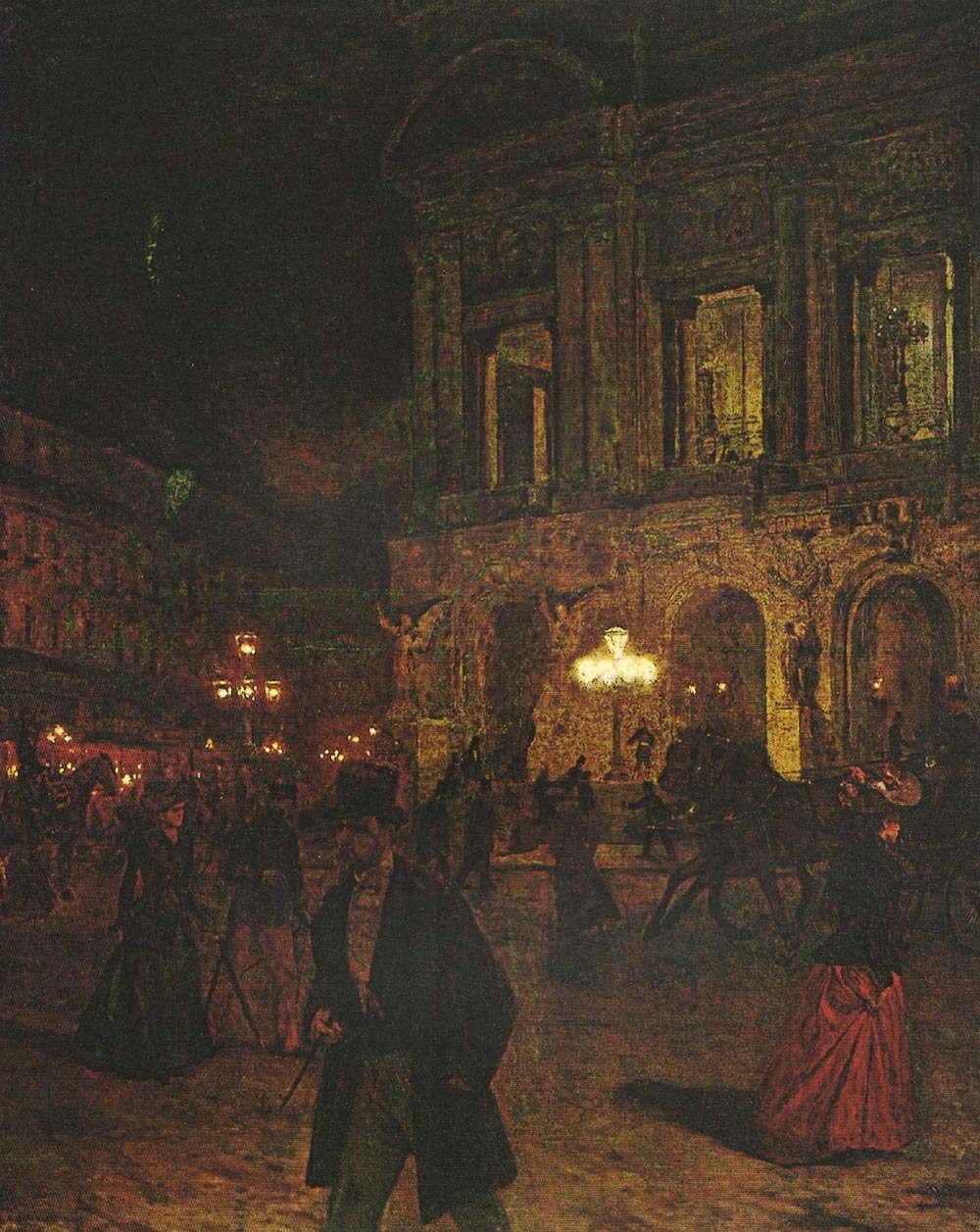 Aleksander Gierymski, Plac Opery Paryskiej nocą, 1891 rok, MNW