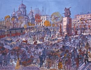 Edward Dwurnik, Ulica Targowa, 1977 rok, źródło: dwurnik.pl