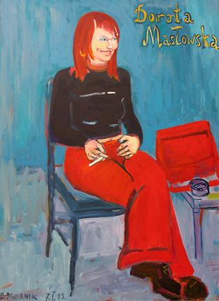Edward Dwurnik, Portret Doroty Masłowskiej, 2003 rok, źródło: dwurnik.pl