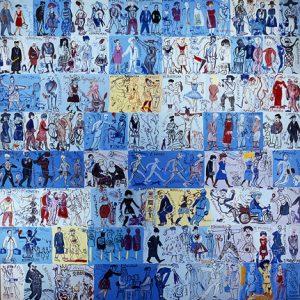 Edward Dwurnik, 170-ciu Polityków Sztuki, 1997 rok, Sala wykładowa Instytutu Historii Sztuki UW, źródło: dwurnik.pl