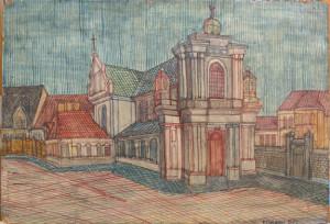 Edward Dwurnik, Kościół Karmelitów, 1966 rok, źródło: dwurnik.pl