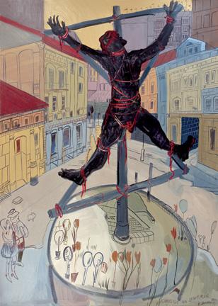Edward Dwurnik, Chrystus na skwerze, 1991 rok, źródło: dwurnik.pl