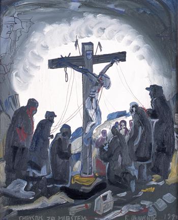 Edward Dwurnik, Chrystus za miastem, 1979 rok, źródło: dwurnik.pl