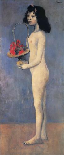 Pablo Picasso, Młoda dziewczyna z koszem kwiatów, 1905 rok, źródło: wikipaintings.org