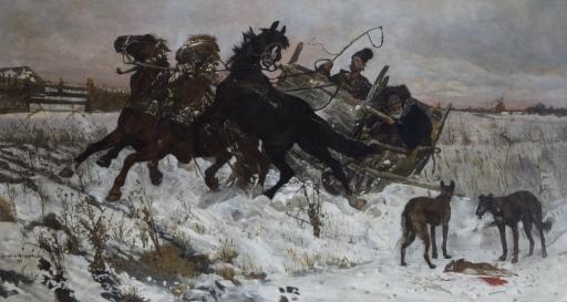 Józef Chełmoński, W podróży, 1878 rok,  cena wywoławcza w 2008 roku wynosiła 950 000 złotych,  źródło: desa.pl