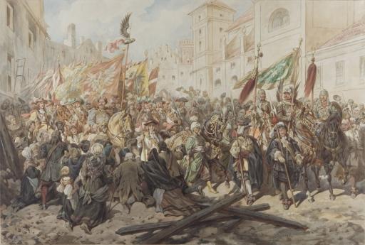 Juliusz Kossak, Wjazd Sobieskiego do Wiednia, 1883 rok,  cena wywoławcza w 2008 roku wynosiła 300 000 złotych,  źródło: desa.pl.