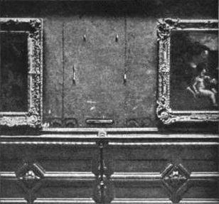Pusta ściana w Luwrze po kradzieży obrazu w 1911 roku,  źródło: en.wikipedia.org