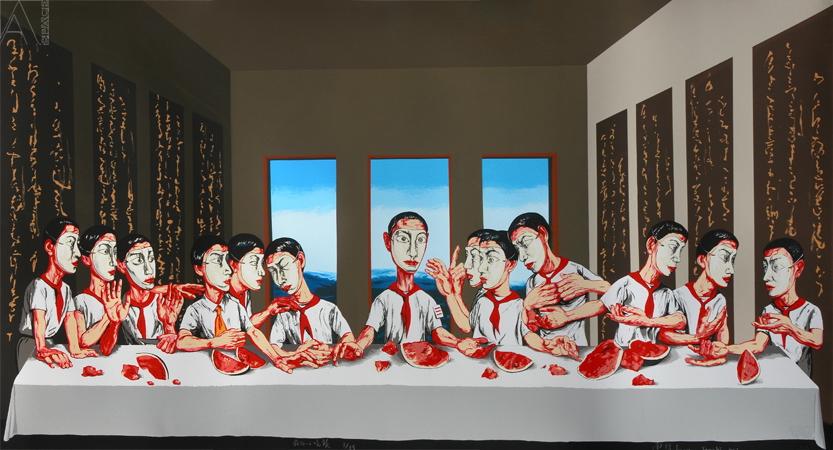 "Zeng Fanzhi, ""Last supper"". Źródło: Jing Daily"