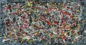 """Obraz sygnowany """"J. Pollock"""", sprzedany londyńskiemu kolekcjonerowi, który walczy o zwrot straconych pieniędzy, za 17 milionów dolarów."""