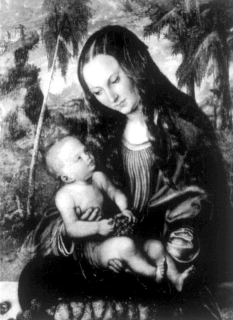 Lucas Cranach Starszy,Madonna pod jodłami, 1510 rok, MuzeumArchidiecezjalnewe Wrocławiu, zdjęcie przedwojenne,  źródło: Narodowy Instytut Muzealnictwa i Ochrony Zabytków