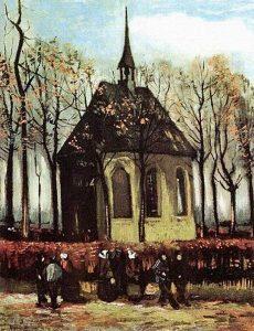 """Vincent van Gogh """"Kongregacja opuszczająca kościół reformowany w Nuenen"""": wikipedia.org"""