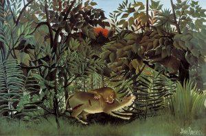 Henri Rousseau, Głodny lew atakujący antylopę, 1905