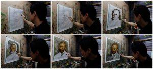 chińczyk robiących kopie obrazu Van Gogha