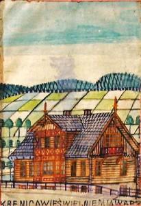 Nikifor Krynicki, Drewniany dom w polu (Krynica), źródło: Muzeum Okręgowe w Nowym Sączu