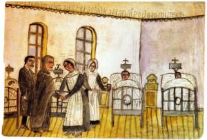 Nikifor Krynicki, W szpitalu, źródło: Muzeum Okręgowe w Nowym Sączu